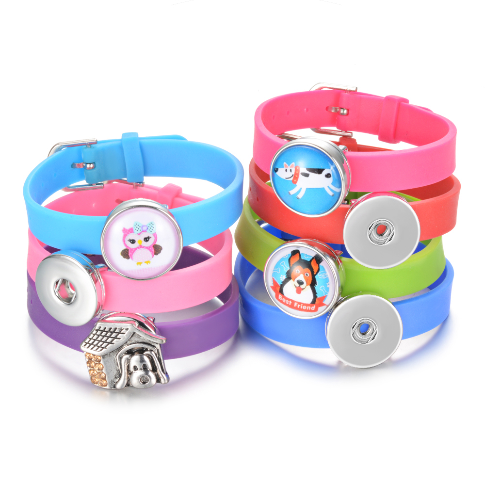 Ginger Snaps Bracelet Gift Candy-Colors Silicone for Children NN-713 10pc Fits-18mm 9