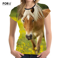 FORUDESIGNS 2017 Tops T Shirt 3D Crazy Horse Summer Short Sleeved Casual Shirt For Women Girl