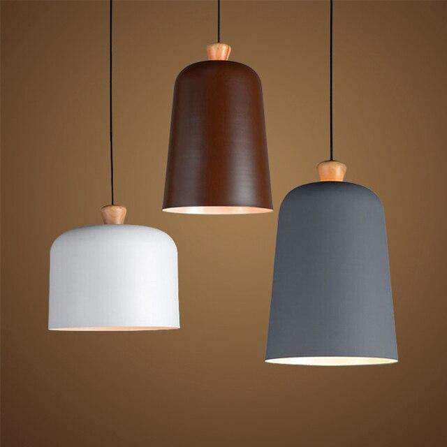 nordic moderne aluminium holz pendelleuchte wei grau braun lampenschirm f r cafe bar. Black Bedroom Furniture Sets. Home Design Ideas