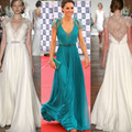 Long Evening Gowns Kate Middleton in Jenny Packham lace bodice Chiffon Deep V Neck Evening Dresses