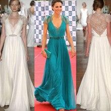 Lange Abendkleider Kate Middleton In Jenny Packham Spitze Mieder Chiffon tiefem V-Ausschnitt Abendkleider