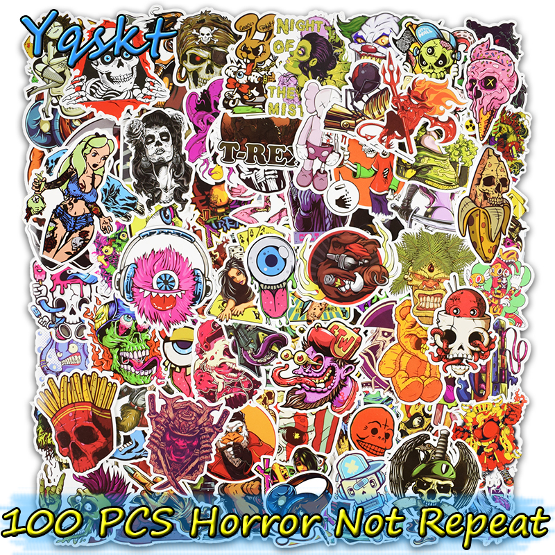 100 Pcs Horror Cool Stickers for Skateboard Motorcycle Car Styling Laptop Fridge Luggage Bicycle Graffiti PVC Waterproof Sticker100 Pcs Horror Cool Stickers for Skateboard Motorcycle Car Styling Laptop Fridge Luggage Bicycle Graffiti PVC Waterproof Sticker