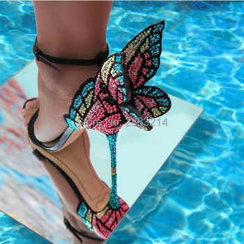 newest metallic embroidered leather sandals angel wings pumps party dress bridal shoes butterfly ankle wrap high heels sandals - Category 🛒 Shoes