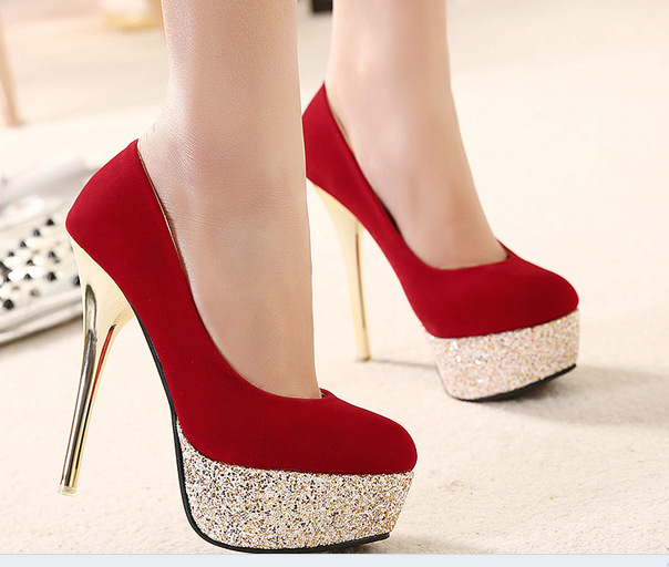Red And Gold High Heels - Qu Heel