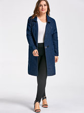 Plus Size Lapel Long Denim Women'S Wool Blend Trench Coat Casual Long Outerwear Clothing For Lady