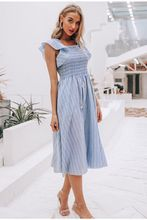 Vintage Striped Women Long Dress Ruffle Linen Blue Elegant Summer Dress 2019 Casual Cotton Fashion Female Beach Vestidos
