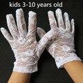Niño verano delgada guantes de encaje blanco las niñas con baile de rendimiento guantes guantes de encaje blanco