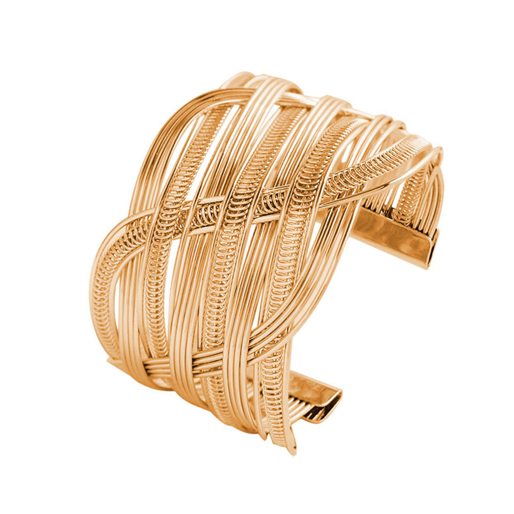 Women Zinc Alloy Bracelet Bangles Opening Style Metal Multi Layers Wristband Chain Cuff Jewelry For Party