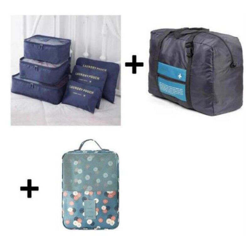 2018 6pcs/set Plus Travel Handbags Travel Bags Pack Men and Women Luggage Travel Bags Packing Cubes Organizer Folding Bag Bags iux travel mesh bag luggage organizer packing men and women luggage travel bags packing cubes organizer folding bag bags