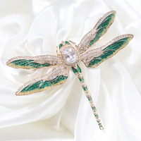 Europe and America retro green drip dragonfly brooch female with insects pin mixed wholesale jewelry for women