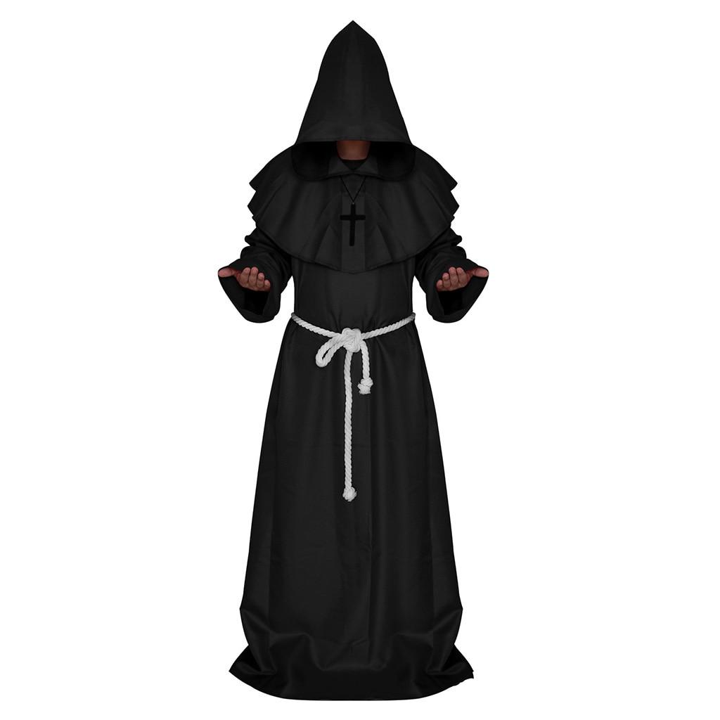 Friar Medieval Hooded Monk Priest Robe Cloak Costume Cosplay Black L
