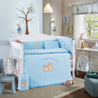 10Pcs Baby Bedding Set for Crib Newborn Baby Bed Linens for Girl Boy Cartoon Cot Bumpers Sheet Quilt
