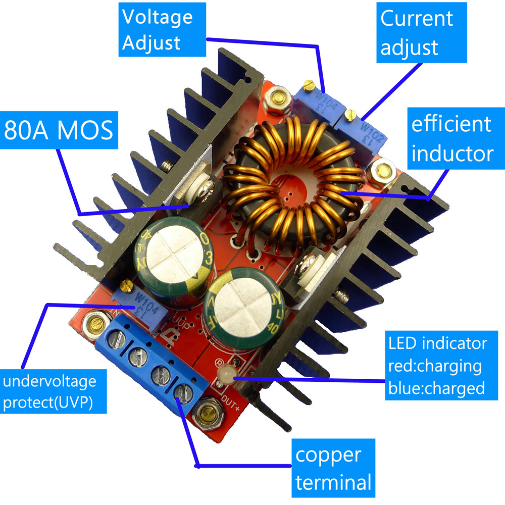 80W CC CV Buck Boost Converter 9-35V to 1-35V Adjustable Buck Booster DC DC Step Down Step Up Adapter Module Voltage Regulator80W CC CV Buck Boost Converter 9-35V to 1-35V Adjustable Buck Booster DC DC Step Down Step Up Adapter Module Voltage Regulator