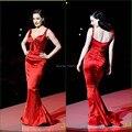 Высокое качество красный милая труба длинные атласные макси дешевые красный знаменитости русалка платья