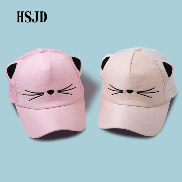 9813ff97bde Snapback Cute Cat Ears Pink Mesh Net Baseball Cap Women s hats 2018 Summer  Lovely cat Adjustable Visor Caps Casual Drake Bones