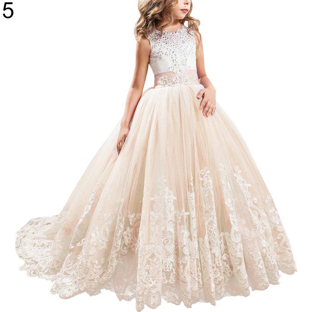 Mode jolie fille robe de princesse dentelle traînant robe pour enfants fête mariage demoiselle d'honneur - 6