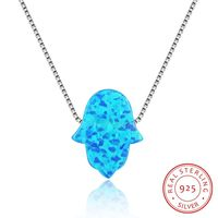 NE33 women and man fine jewelry,palm shaped opal pendant,925 sliver necklace as lover nanniversary gift