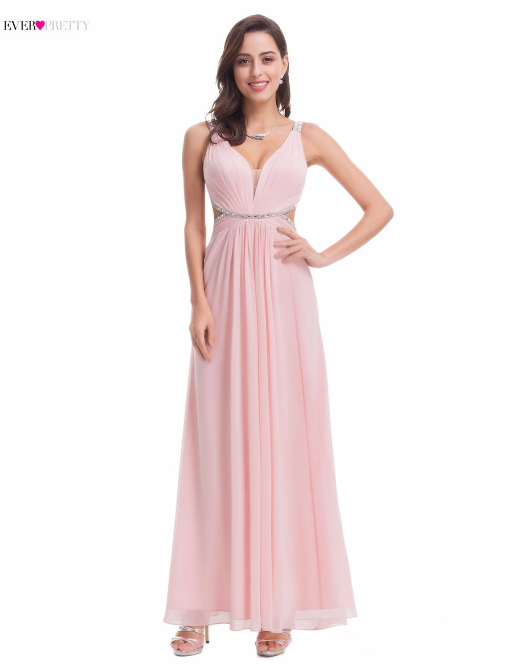Formal Evening Long   Dresses   Ever-Pretty EP07081 Elegant Black Deep V-neck Maxi Woman 2018 Crystal Beading Pink Gowns   Prom     Dress