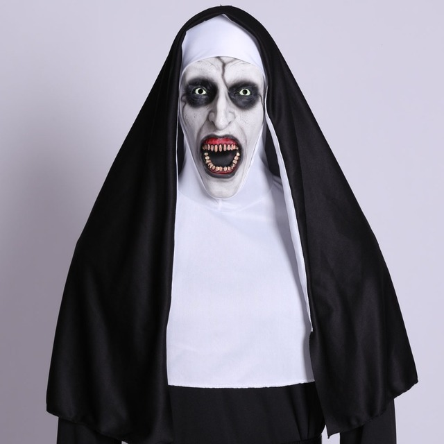 The Nun Horror Cosplay Mask With Costume Valak Virgin Latex Masks Adult Deluxe Clothing Halloween Party Costumes DropShipping 1