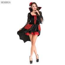 SESERIA Vampiro de Halloween Sexy Traje de Las Mujeres de Color Rojo y Negro Cosplay Mascarada Juega Trajes de Vampiro