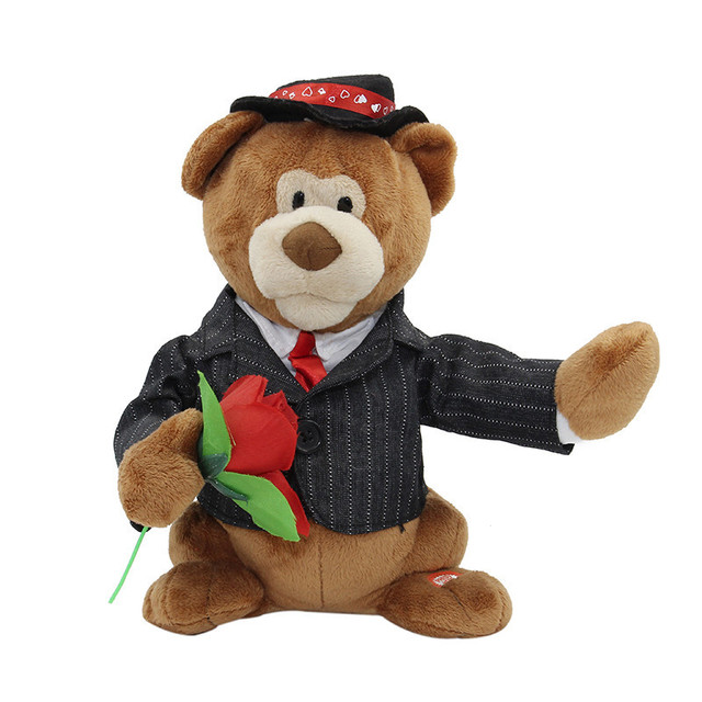 Animated Romantic Singing Bear Russian Language Soft Plush Stuffed  Electronic Toys Valentines Day Gift
