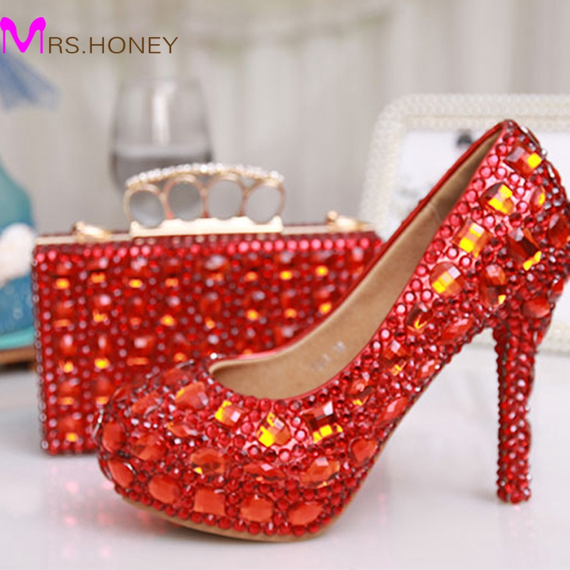 Glitter Red Crystal Bridal Wedding Dress Shoes Party Evening Dress Shoes Party Prom High Heels with Matching Crystal Clutch Bag something red wedding shoes customized sparkly diamond red high heels platfrom party evening shoes italian shoes and bag set
