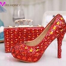 Glitter Red Kristall Braut Hochzeit Kleid Schuhe Partei Abendkleid Schuhe Partei-abschlussball High Heels mit Passenden Kristall Handtasche