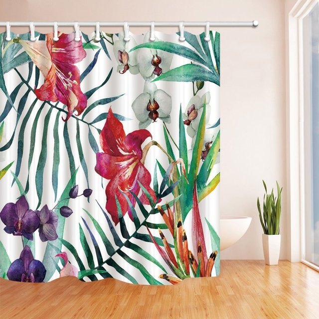 3D Digital Printing Flowers in the Palm Leaves Shower Curtain ...