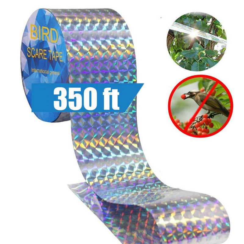 Bird Scare Tape Anti Bird Tape Dual-sided Reflective Deterrent Scare Tape For Birds Fox Pigeons Repeller Ribbon Tapes(China)