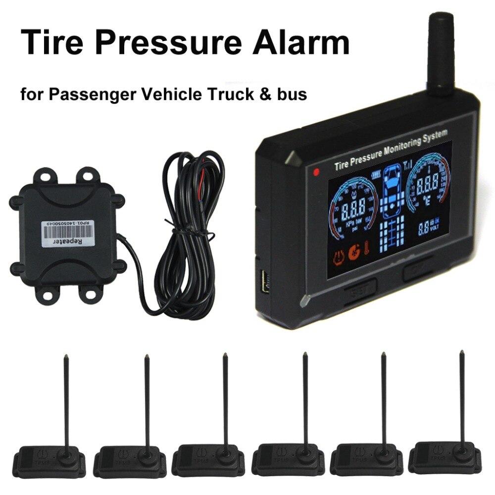 Sistema de monitoramento da pressão dos pneus do caminhão & do ônibus do alarme da pressão dos pneus do veículo passageiro + repetidor + 6 sensores internos