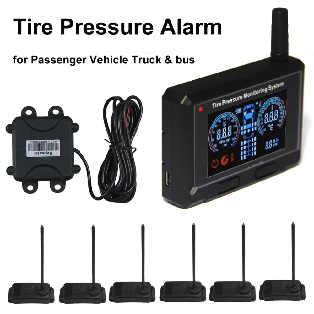 Veicoli passeggeri Pneumatici Allarme di Pressione Truck & bus Tyre Pressure Monitoring System + Ripetitore + 6 Sensori Interni