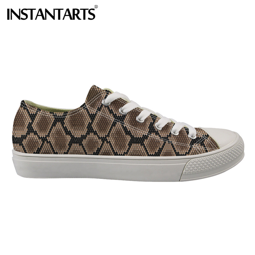 INSTANTARTS Snake Skin Sexy Men Canvas Shoes Fashion Casual Vulcanize Shoes Python Skin 3D Print Low