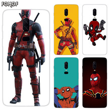Luxury Soft TPU Silicone Phone Back Case For OnePlus 5 5T 6T 6 Frosted Fundas Printed Cover Funny Marvel Batman Chibi deadpool