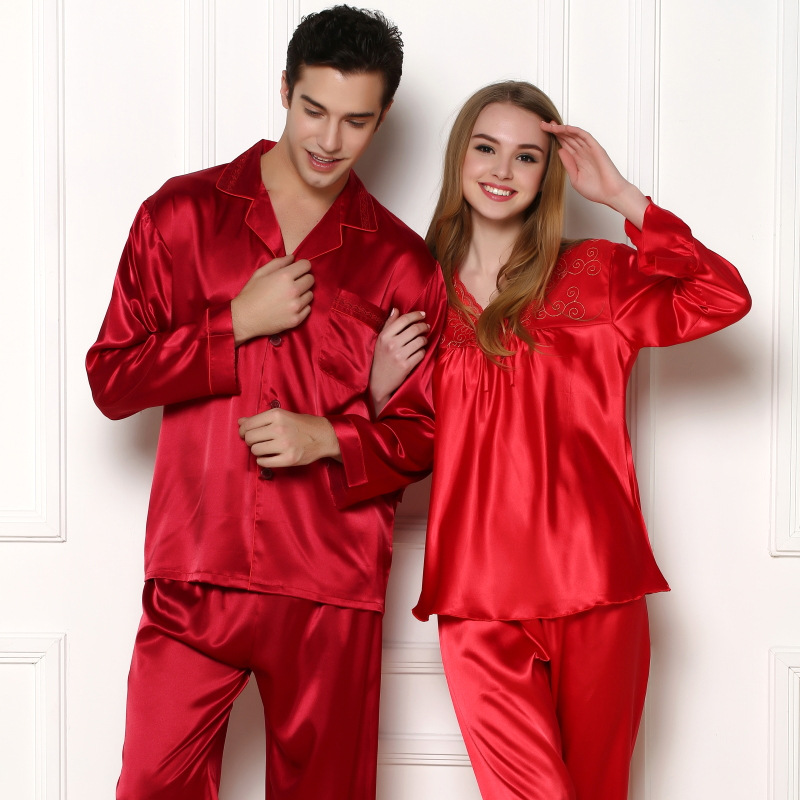 Luxury Chinese Red Lovers Sleepwear Women Silk Satin Pajama Set Or Men Pijama Set Long Sleeve Pyjama Set For Spring Autumn