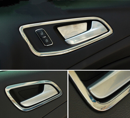 ABS Chrome Interior Door Handle Bowl Cover Decoration Ring Trim Sticker For Ford Kuga ( Escape ) 2013 2014 Car Accessories