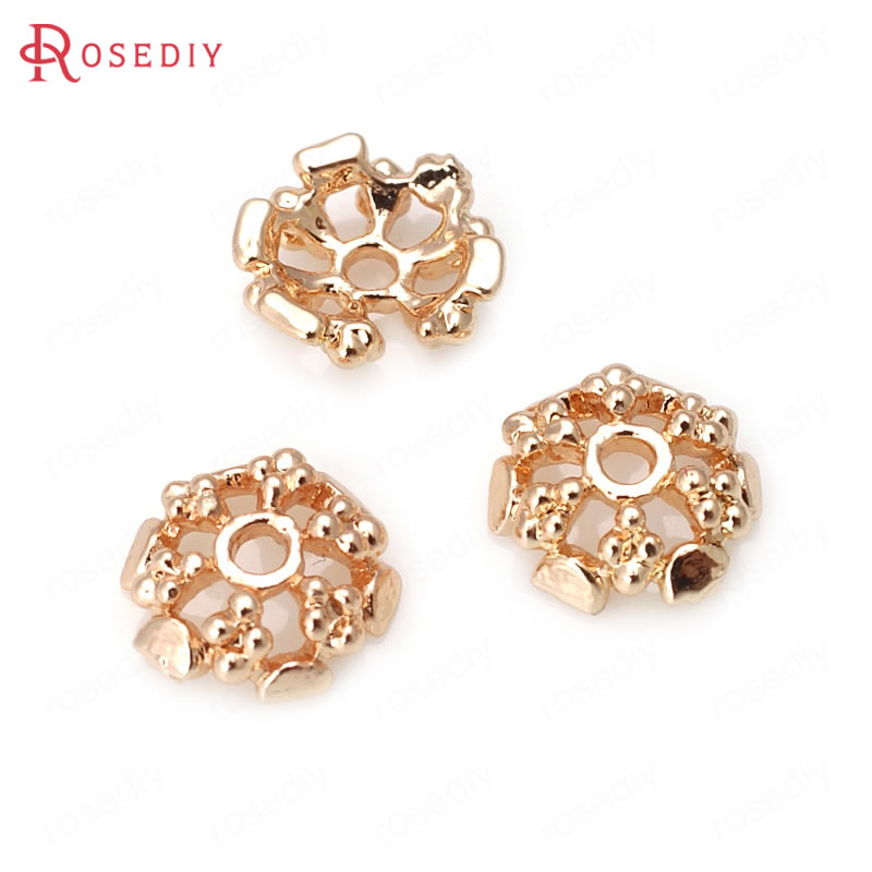 (31892)20PCS 7.5MM 24K Champagne Gold Color Plated Brass Beads Caps High Quality Diy Jewelry Findings Accessories Wholesale