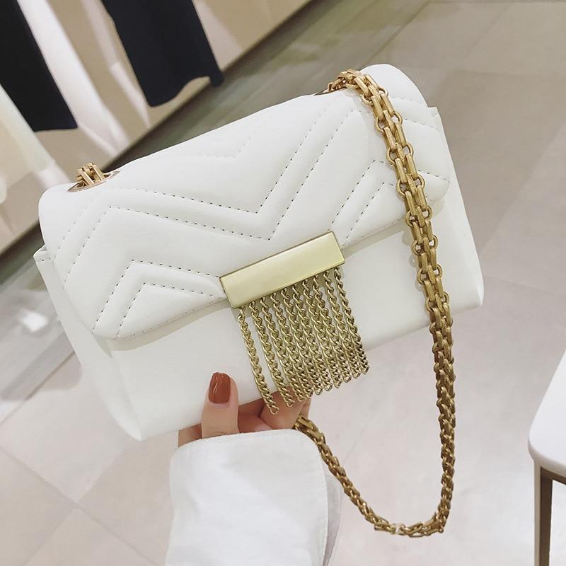 Women Small Bags Tassel chain shoulder bag PU Faux Leather Handbags Shoulder Bags Metal Chain Punk Cool Fashion все цены