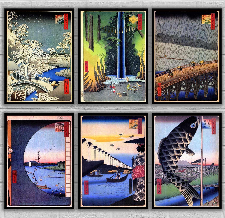 Hiroshi Yoshida Utagawa Kuniyoshi Ando Hiroshige Самурайские герои большого воина укийо е японского