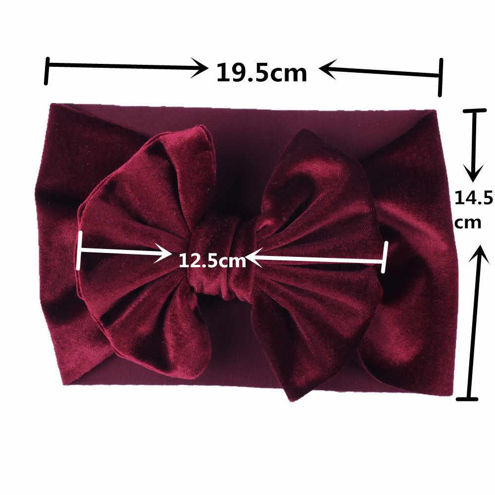 Теплый Золотой бархатный большой бант эластичная повязка широкая повязка на голову для девочек детские бантики для волос повязка на голову аксессуары головной убор