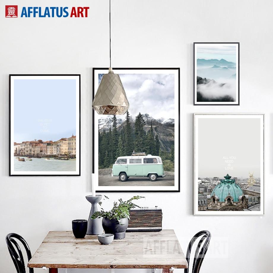AFFLATUS Nordic Poster Nostálgico Paisaje Lienzo de Pintura - Decoración del hogar