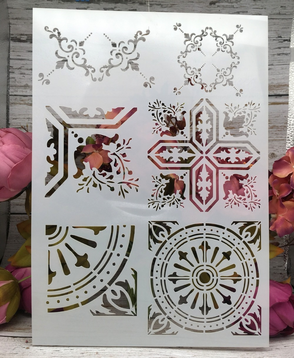 A4 Frame Texture Square DIY Layering Stencils Wall Painting Scrapbook Coloring Embossing Album Decorative Paper Card Template