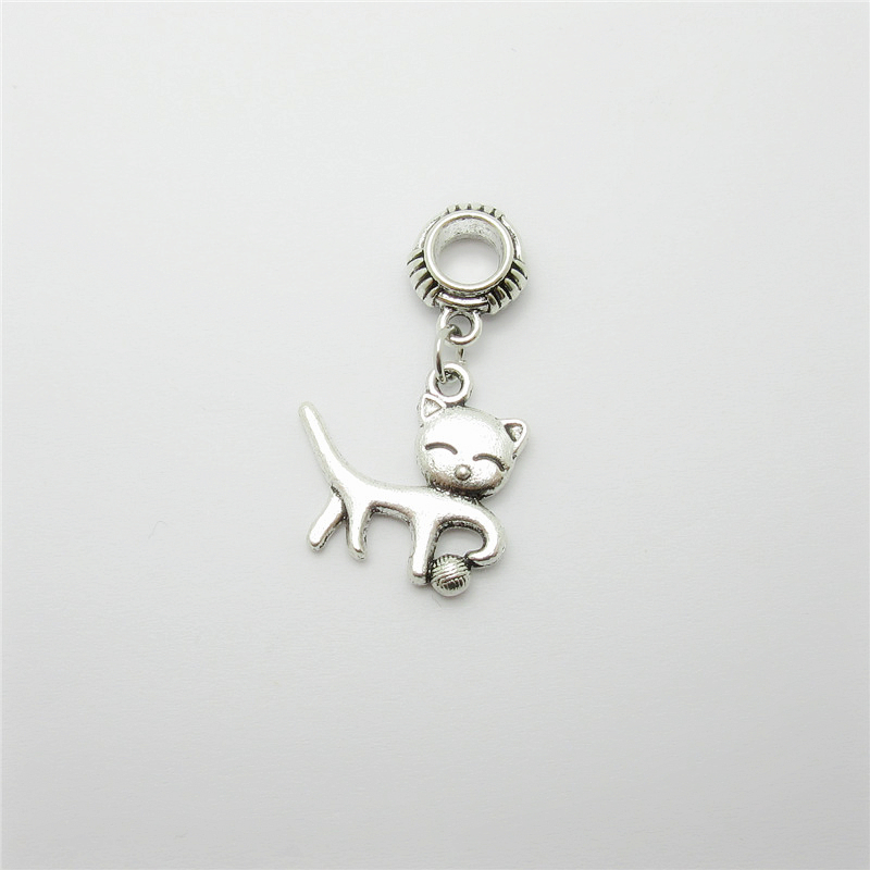 ᑎ Ancient Silver 20pcs Cat Charms Big Hole Loose Bead Fit Pandora