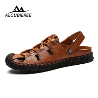 ALCUBIEREE Sandals Men Leather Fashion Male Casual Shoes Summer Breather Beach Slippers Antiskid Outdoor Zapatos Hombre