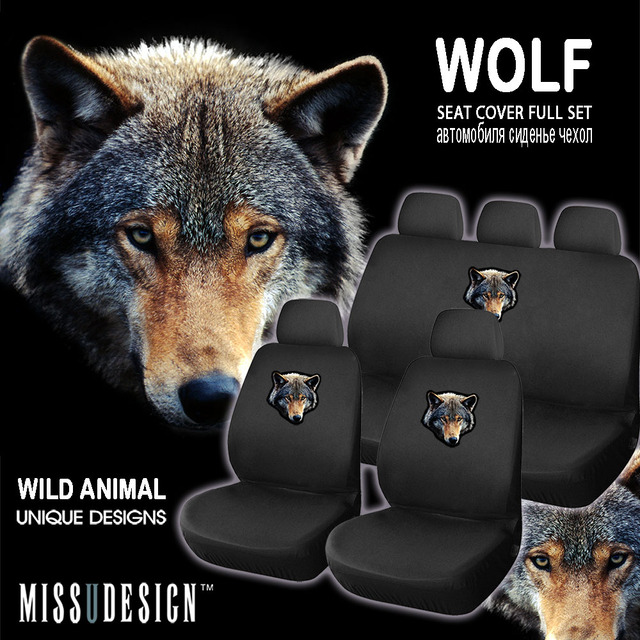 F8W Cool Wolf Printing Universal Full Set Car Automotive Interior Accessories Beautiful Seat Cover