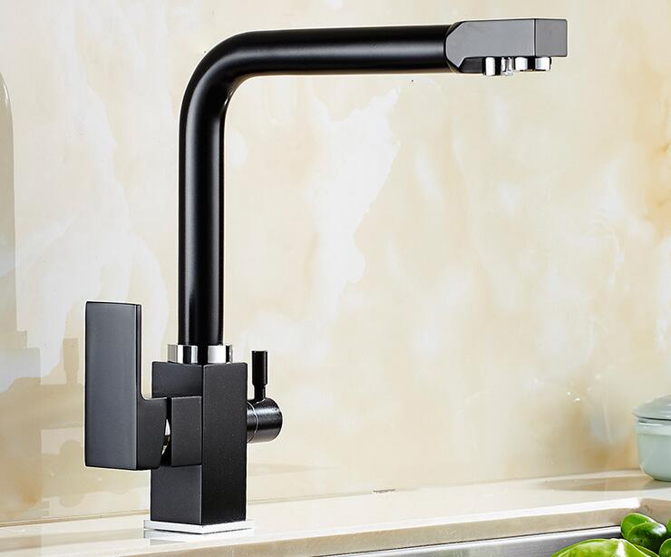 New Arrivals Europe style brass chrome black finish direct drink kitchen faucet swivel kitchen mixer tap