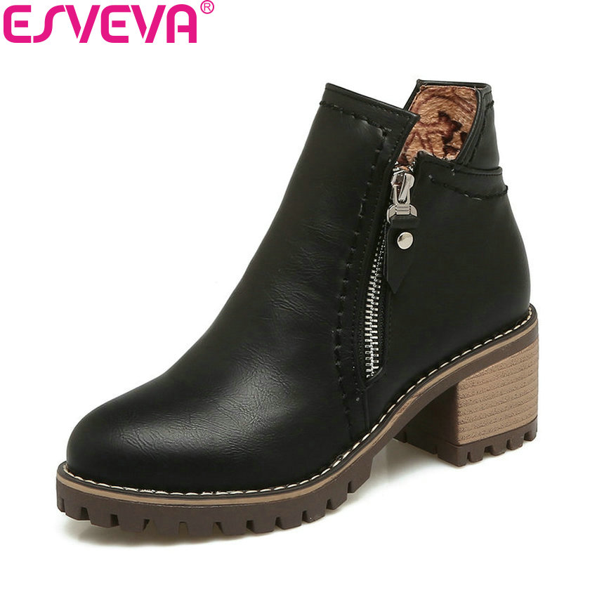 ESVEVA 2018 Women Boots Zipper Ankle Boots Handmade Western Style PU Leather Square High Heel Out Door Ladies Boots Size 34-43