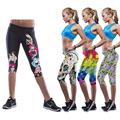 women middle waist elastic leggings mid calf summer building body slimming pants smooth print 3D  workout touch control legging