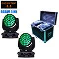 Road Case 2in1 with 2pcs/lot 36 10W 360W Wash Zoom Led Moving Head Lights DMX With EU US AU Plug 110V-240V TIPTOP TP-L620A RGBW