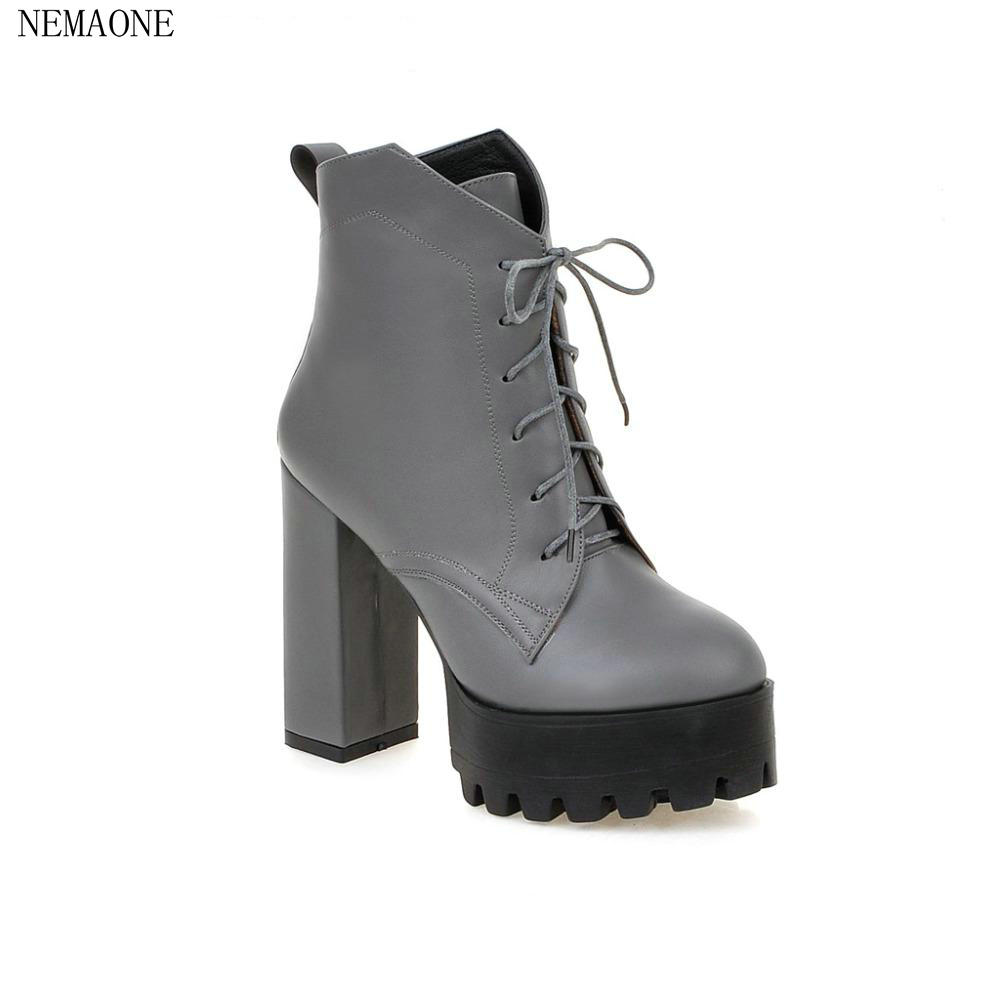 NEMAONFashion Women Ankle Boots Thick Heels Women Martin Boots Sexy Vintage Rivets High Thick Heels Women Motorcycle Boots Shoes цены онлайн