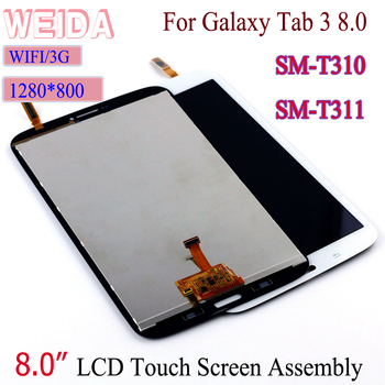 WEIDA LCD Replacment 8 For Samsung Galaxy Tab 3 8.0 SM-T310 SM-T311 LCD Display Touch Screen Assembly T310 WIFI /T311 3G free shipping for samsung galaxy tab 3 8 0 sm t310 t310 wifi touch screen digitizer glass lcd display assembly replacement
